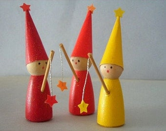 Rainbow Wizards Wooden Peg People Set of Six