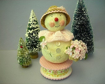 Spring Snow Woman Snowman with Bonnet and Flower Basket Easter Bonnet Flowers Springtime May Day Basket