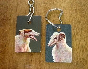 Luggage Tags or Keychains -  Borzoi - Russian Wolfhound - Dogs - Recycled Laminate Sample Tiles