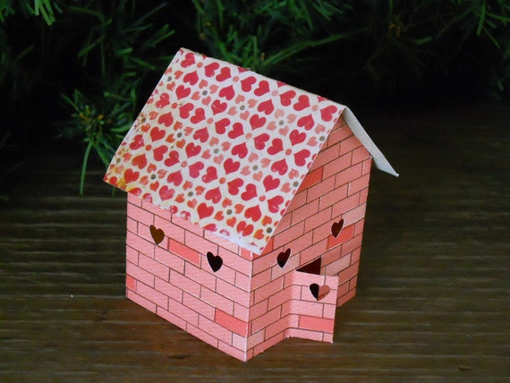 Sweetheart Houses - Set of Three  Little Light Up Paper  Houses Hearts Valentine's Day Love