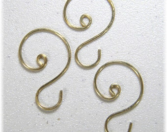 "Small  Gold (1 1/8"" to 1 1/4"") Ornament Hooks, Set of 12"