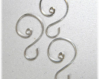 "Small Silver (1 1/8"" to 1 1/4"") Ornament Hooks, set of 12"