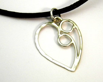Couple Heart Pendant/Necklace Sterling Silver