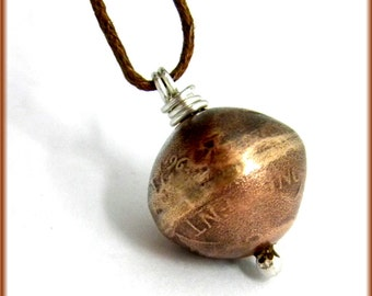 Penny Bead Necklace/Pendant Copper & Sterling Silver
