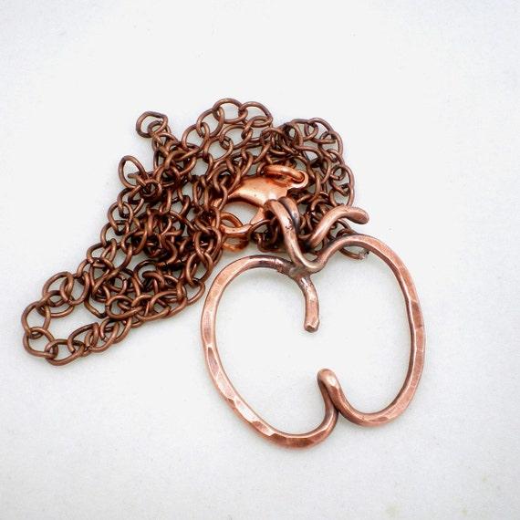 Copper Apple Pendant Necklace