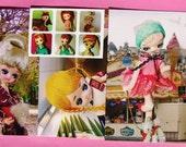 Japan Vintage Pose Doll Postcard and Sticker Set v.02