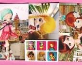 Japan Vintage Pose Doll Postcard and Sticker Set v.03