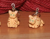 Chubby Orange Tabby Stitch Markers (set of 4)