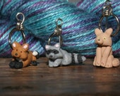 Raccoon et al Stitch Markers  (set of 4)