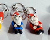 Garden Gnome Stitch Markers set of 4 Miniature Polymer Clay Sculpted Knit, Crochet Accessories
