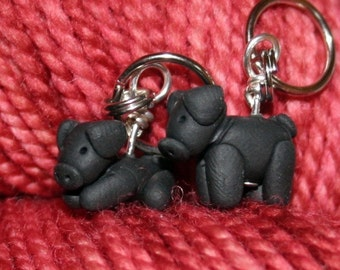 Black Pig Stitch Markers  (drove of 4)