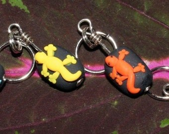 Gecko Polymer Clay Stitch Markers (set of 4)
