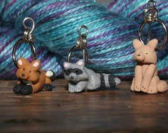 Raccoon et al Stitch Markers  (set of 4)