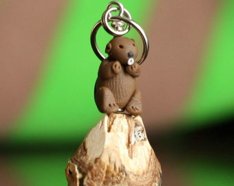 Miniature Beaver Polymer Clay Stitch Markers (Lodge of 4 sculpted acessories)