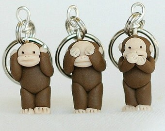 See No Evil Monkey Stitch Markers set of 3 Polymer Clay Miniature Sculpted Animal Knit, Crochet Accessories Supplies Primate Animals
