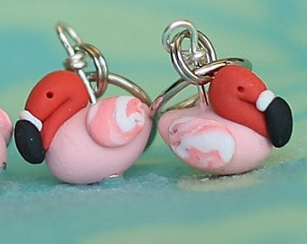 Stitch Markers, Pink Flamingo, flock of 4 Miniature Sculpted Polymer Clay Bird Knit, Crochet Accessories Knitting Notions, Crochet Notions