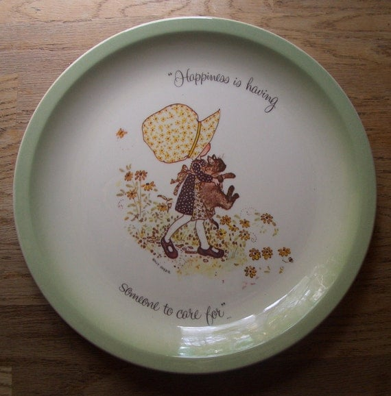 Vintage 1972 Holly Hobbie Plate with Cat