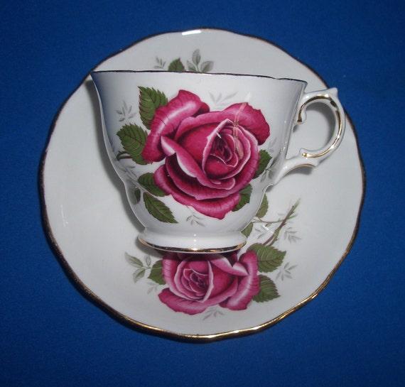 Vintage Red Roses Royal Kent Teacup & Saucer Set