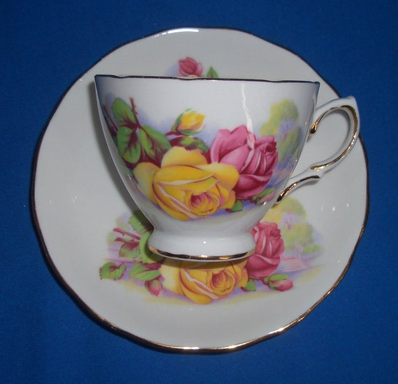 Vintage Yellow & Red Roses Royal Kent Teacup and Saucer Set