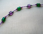 Purple and Green Knotted Bracelet