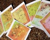 RESERVED for nephelognosy -  Herbal Girls - 6 Small Archival Prints on Fine Art Paper