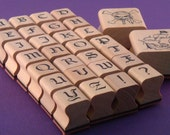 rubber stamp alphabet & pirate collection . old english type font .  deluxe wood mount . LAST in STOCK