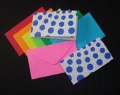 folded mini enclosure cards . 10 pieces . blue circles