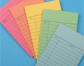 100 sets . colorful library cards / authentic 5 color assortment with STANDARD POCKETS