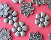 floral metal embellishments / 3 styles / 12 pieces