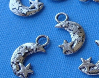 stars and moon charms / 20 pieces