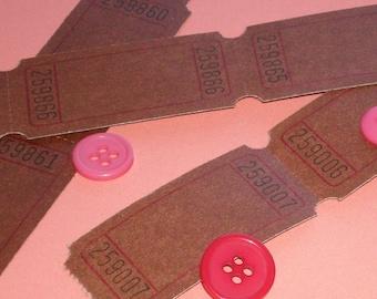 tickets blank .  chocolate brown . rare color . big set of 12 dozen
