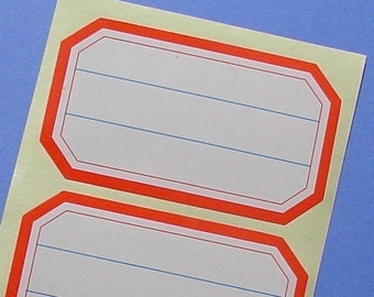 40 stickers with red border / report labels