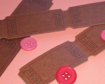 AUTUMN SPECIAL 288 blank carnival tickets .  chocolate brown . rare color . big set of 24 dozen . 4 packs