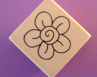 wood mounted rubber stamp / whimsical flower blossom . LIMITED stock