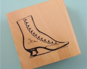 rubber mounted stamp / ladies button up antique SHOE . CLEARANCE SALE