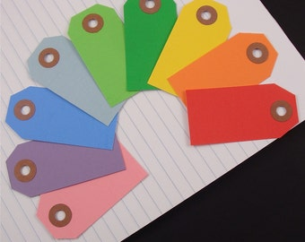54 shipping tags labels / size 1 small . rainbow assortment . 9 colors . double set