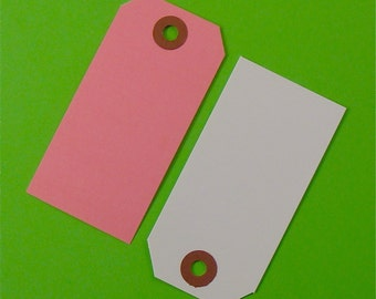 24 pink and white shipping tag labels / size 3 medium tags
