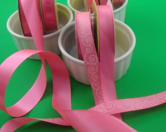 bright pink ribbon 7 spool set . silky poly .  3 styles . 52 yards