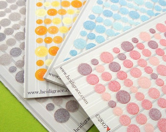 flocked and glittery fun dots . 880 pieces cardstock stickers . 4 packs . 4 color themes