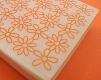 big rubber daisy stamp background . allover design . 4x3 inches . mounted rubberstamp . LAST in stock