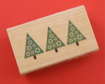 Tree Trio . rubber mounted stamp / Christmas holiday . petite pine evergreen . small stamp