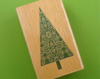 Tree . rubber mounted stamp / Christmas holiday . petite pine evergreen