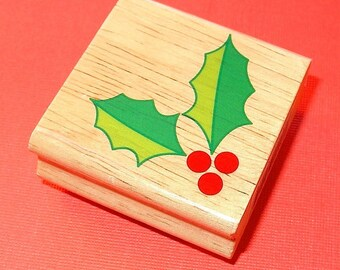 rubber mounted stamp / holly graphic