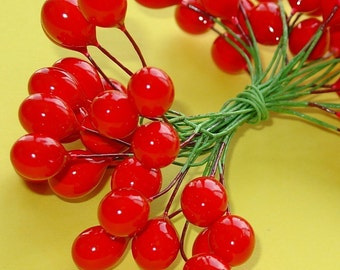 "red berry floral supplies /  24 dozen BIG berries . 1/2"" size . 2 pack double set"