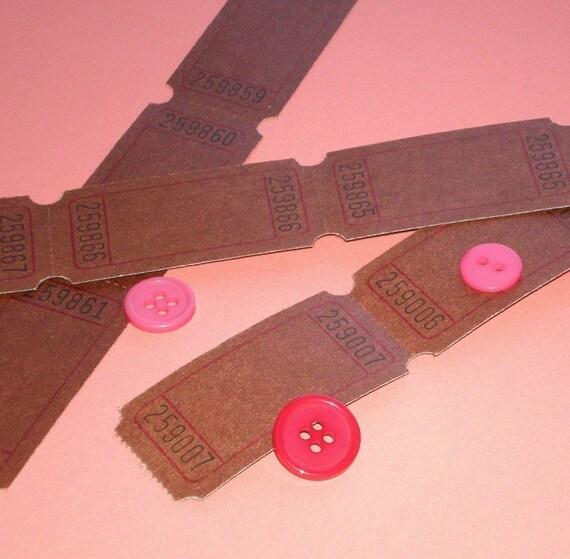 blank tickets . 6 dozen . chocolate brown . rare color