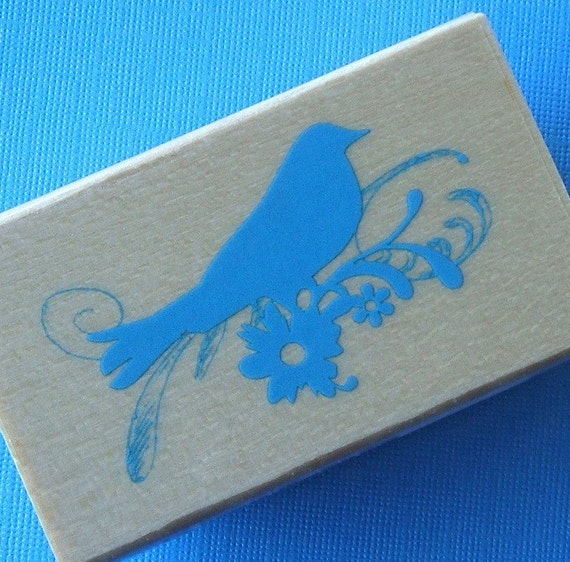 rubber mounted stamp / bird with scrolls