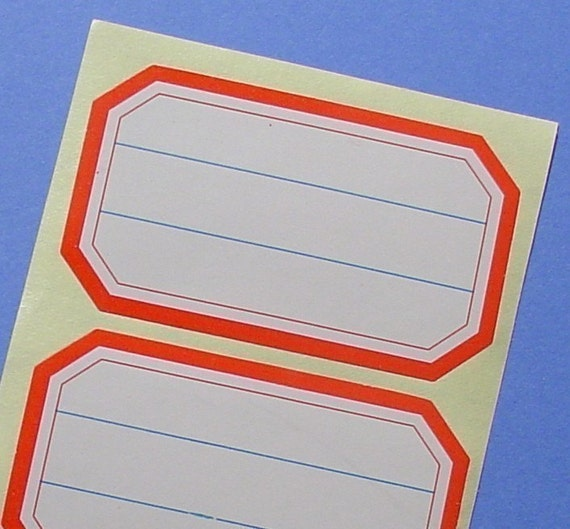 120 stickers with red border / report labels / triple set