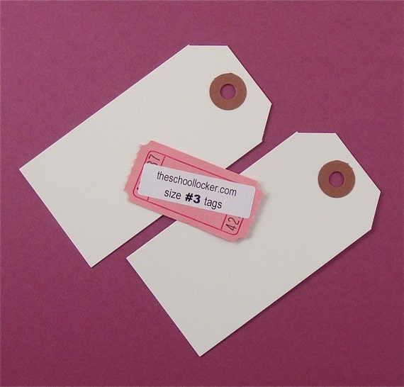 50 white shipping tag labels / size 3 medium tags