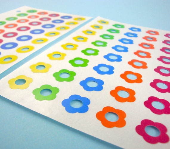 380 colorful reinforcement label stickers / deluxe assortment patterns solids flower shapes . LAST of stock