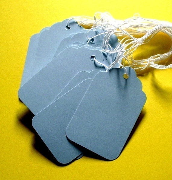 150 blue scalloped paper tags with string . BULK discount